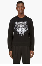 KENZO Black tiger-embroidered sweatshirt for men