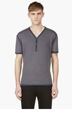 MAISON MARTIN MARGIELA Blue REVERSE STRIPE HENLEY t-shirt for men