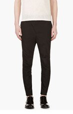 D.GNAK BY KANG.G Black Accent Stitch Harem Trousers for men