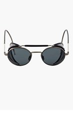 THOM BROWNE Navy & Grey Side Shield Round Sunglasses for men