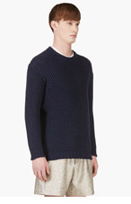 RICHARD NICOLL Navy Knit Crewneck Sweater for men