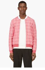 KENZO RED & White MICRO Grid Sweater for men