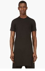 RICK OWENS Black cotton tunic t-shirt for men