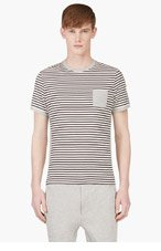 MONCLER Black & Ivory Striped T-Shirt for men