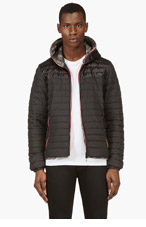 DUVETICA Black & Grey Reversible Camo Hooded Jacket for men