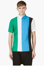 RAF SIMONS Green & Blue Multi-Panel Shirt for men
