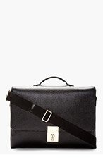 THOM BROWNE Black Grained Leather Messenger Bag for men