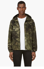 ACNE STUDIOS Green Hooded Camo Print Jacket for men