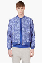 RICHARD NICOLL Blue PYTHON Jacquard BOMBER for men