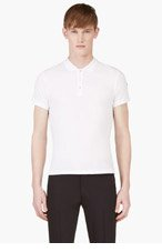 MONCLER White Tri-Color Trim Classic Polo for men