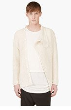 D.GNAK BY KANG.G Ecru Asymmetric Cardigan for men