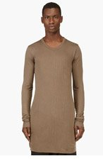 RICK OWENS Khaki overlong draping t-shirt for men
