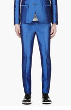 ALEXANDER MCQUEEN Blue Silk Blend Slim Trousers for men