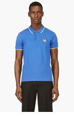 KENZO Blue Embroidered Tiger Logo Polo for men