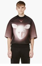 JUUN.J Black & Pink Oversize Printed Neoprene Sweatshirt for men