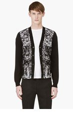 ALEXANDER MCQUEEN Black Lace Front Cardigan for men