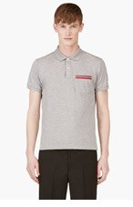 MONCLER GAMME BLEU Grey stripe-trimmed pocket polo for men