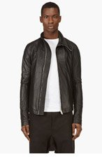 RICK OWENS Black Washed Leather Biker Jacket for men