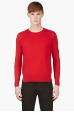 MONCLER GAMME BLEU Red Contour Sleeve Sweater for men