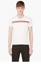 MONCLER White Chest Stripe Logo Shirt for men