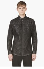 MAISON MARTIN MARGIELA Black Cracked Faux Leather Shirt for men