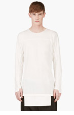 D.GNAK BY KANG.G White Extended Hem T-Shirt for men
