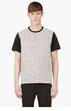 RICHARD NICOLL Black & White Tweed T-Shirt for men