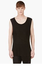 D.GNAK BY KANG.G Black Asymmetric Hem Tank Top for men