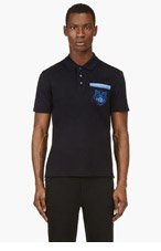 KENZO Navy Embroidered Tiger Polo for men