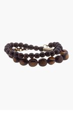 DSQUARED2 Brown Wood Beaded Bracelet for men