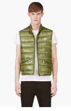 MONCLER Green Quilted Down Vest for men