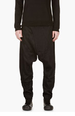 D.GNAK BY KANG.G Black Crossover Sarouel Trousers for men