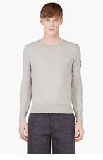 MONCLER GAMME BLEU Grey Contour Sleeve Sweater for men