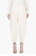 CHLOE Cream CROPPED oversize TROUSERS for women