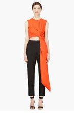 ROKSANDA ILINCIC Black & Orange Draped Thurloe Jumpsuit for women