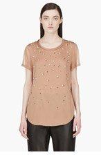 3.1 PHILLIP LIM Brown Silk Beaded Degraded meteorite T-shirt for women