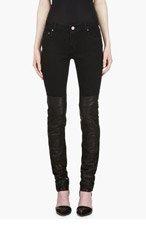 AVELON Black Leather Panel Neon Jeans for women