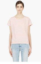 A.P.C. Orange & Ecru Striped T-Shirt for women