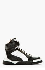 GIVENCHY Black & White Leather Tyson High-Top Sneakers for women