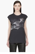 3.1 PHILLIP LIM Grey Oversize Wave Graphic T-Shirt for women