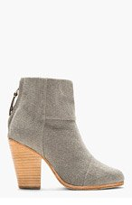 RAG & BONE Grey Canvas Newbury Ankle Boots for women