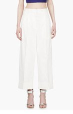 3.1 PHILLIP LIM White Cropped Wide-Leg Trousers for women