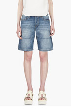 MARNI EDITION Blue Denim Panelled Shorts for women
