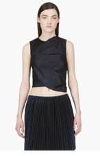 3.1 PHILLIP LIM Navy Metallic Marbled & Twisted Origami Crop-Top for women
