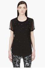 3.1 PHILLIP LIM Black Silk Beaded Degraded meteorite T-shirt for women