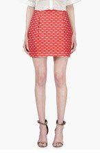 JONATHAN SAUNDERS Red & White Embroidered Lenny Skirt for women
