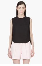 3.1 PHILLIP LIM Black Leather Whipstitched Tank top for women