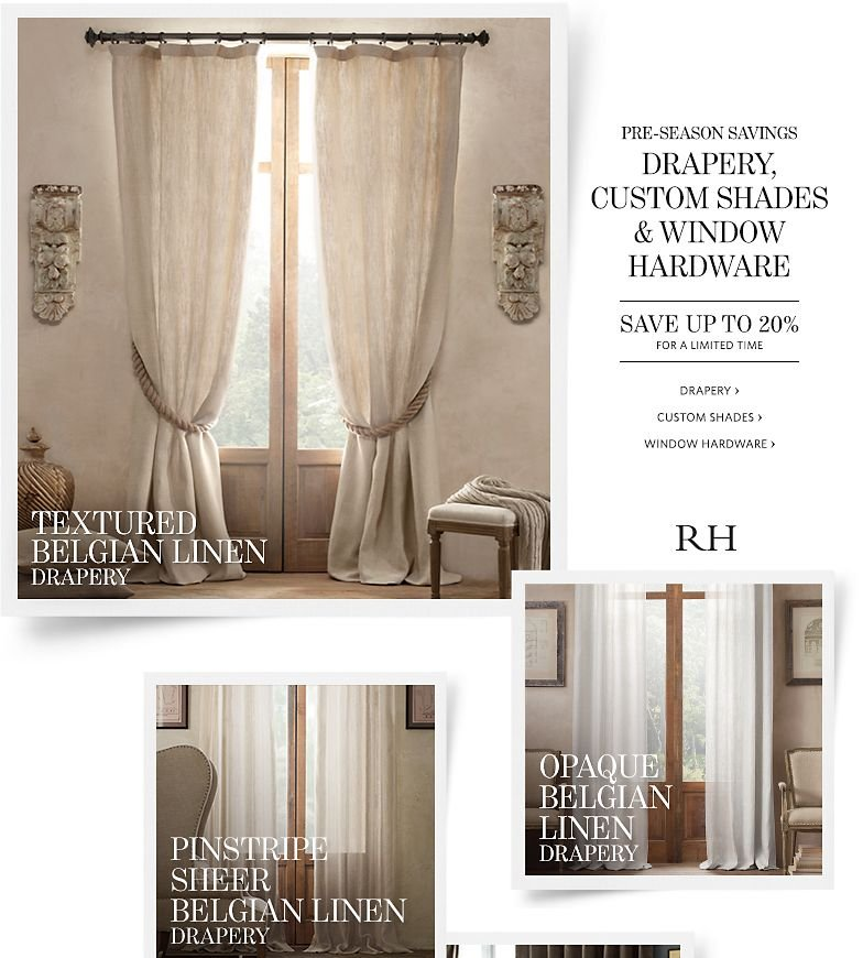 Pre-Season Savings on Drapery, Custom Shades and Window Hardware - Save Up to 20% For a Limited Time.