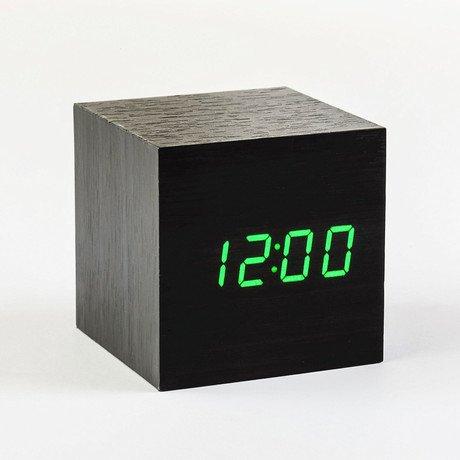Cube Click Clock Green LED // Black