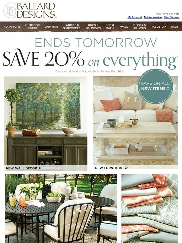 ballard designs 20 off everything ends tomorrow save savings lifestyle cincinnati